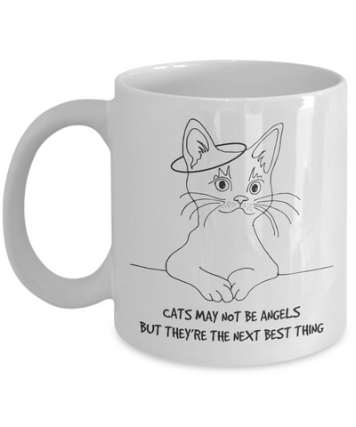 Cats May Not Be Angels Mug (white) 11 oz - Raven's World - 1