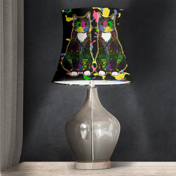 Colorful Tuxedo Cat - Drum Lampshade