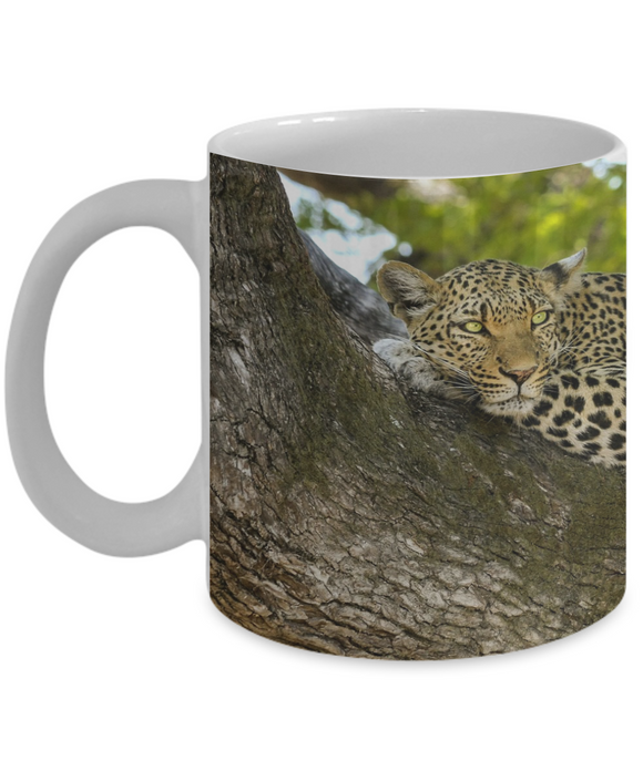 Leopard Resting Mug (white) (11 oz) - Raven's World - 1