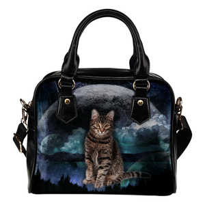 Grey Tabby Cat Planet Shoulder Handbag