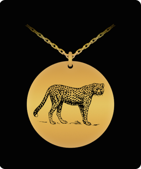 Laser Engraved Cheetah Pendant Necklace