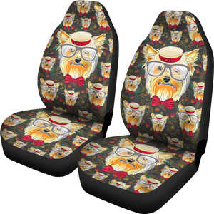 Yorkshire Terrier with Glasses Car Seat Covers