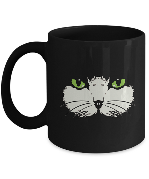 Green-Eyed Cat Face Mug (black) (11 oz) - Raven's World - 1