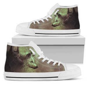 Wolf Pair Mens High Top Shoes