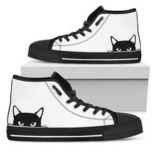 Peeking Cat Womens High Top Shoes