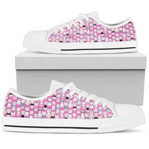 Cat Pattern on Pink Womens Low Top Shoes