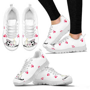 Cat and Paw Prints Womens Sneakers