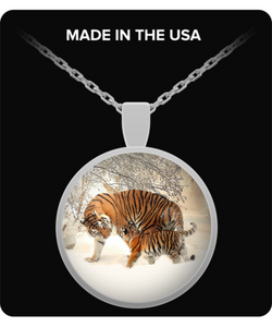 Tiger & Cub Pendant Necklace (silver plated)