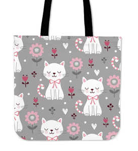 Cute White Cat Cloth Tote Bag