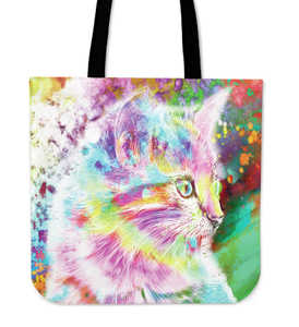 Rainbow Kitten Cloth Tote Bag