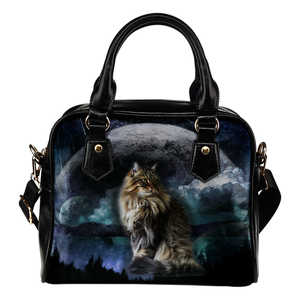 Maine Coon Cat Planet Shoulder Handbag