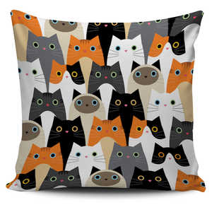 Cat Crowd Pillow Cover