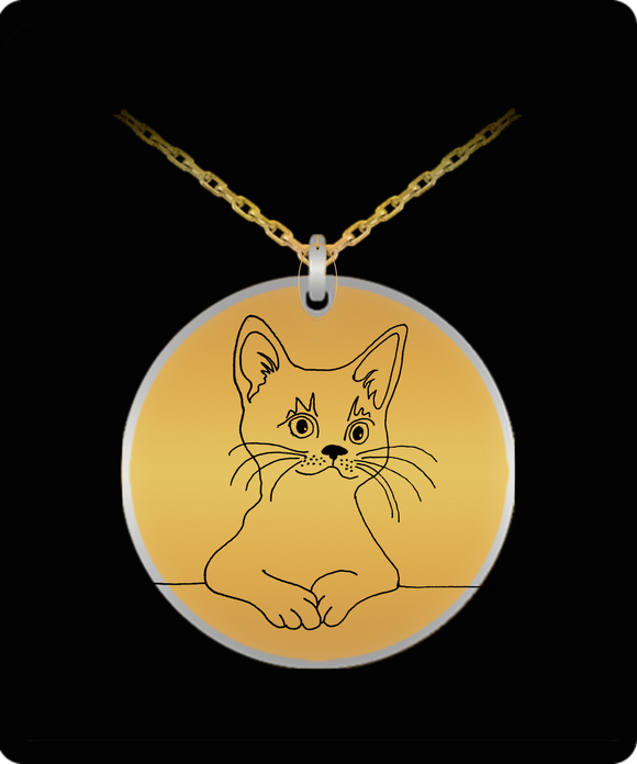 Laser Engraved Cat Sketch Pendant Necklace