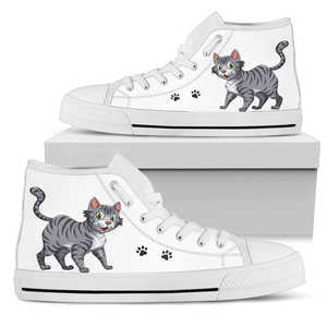 Grey Tabby Cat Mens High Top Shoes