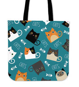 Blue Fishbone Cat Cloth Tote Bag