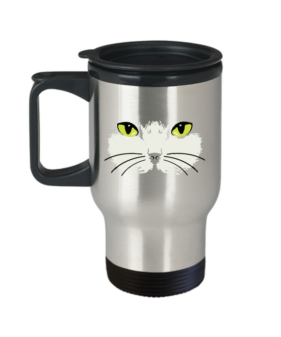 Gold Eyed Cat Face Travel Mug