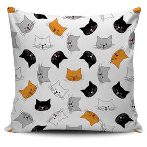 Winking Cat Face Pillow Cover