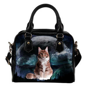 Ginger Cat Planet Shoulder Handbag