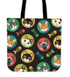 Round Eyes Cat Cloth Tote Bag
