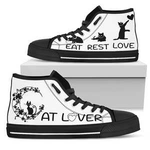 Cat Lover Womens High Top Shoe - black sole