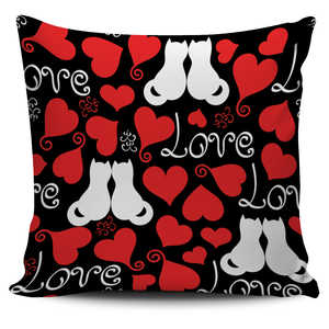 Love Heart Cat Pillow Cover