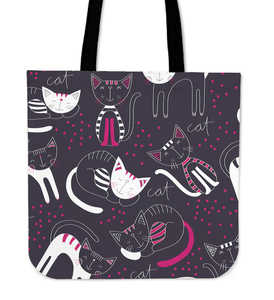 Purple Rest Cat Cloth Tote Bag