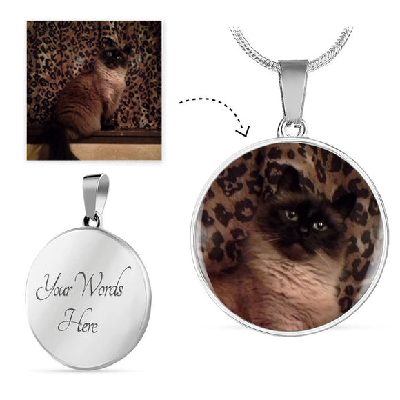 Engravable Photo Circle Pendant - A Purrfect Keepsake Featuring Your Cat or other Loved One! Great Gift for Wife, Mom, Daughter, Sister, Grandma, Aunt ... Anyone who has a special cat!