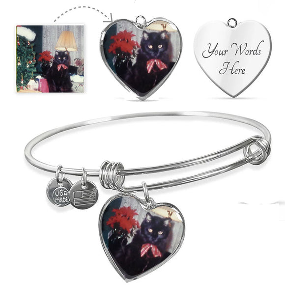 Circle Bangle Bracelet with Engravable Heart-shaped Photo Charm - Upload Your Photo to Make a Unique Gift!