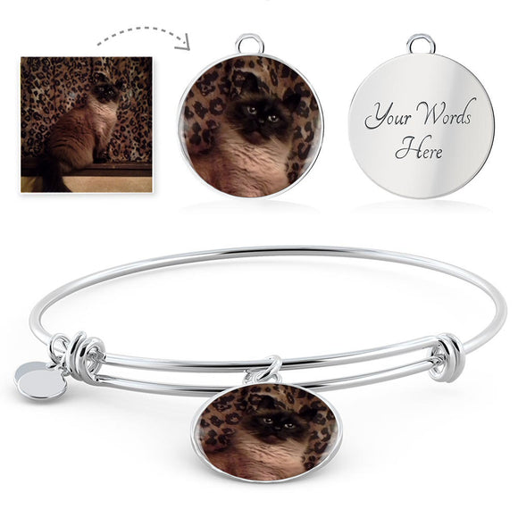 Unique Gift for Cat Lovers! Engravable Bangle Bracelet featuring a photo of HER cat!