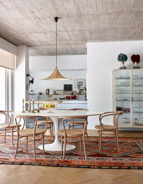 kilim rug under dining table