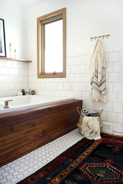 persian rug in bathroom