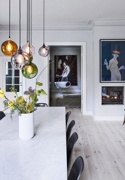 Pendant lights above dining table dining room inspiration consider having dimmers installed so that you can enjoy both bright and ambient light from your pendants perfect for dining tables where you might prefer aloadofball Gallery