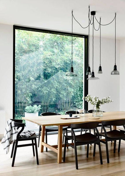 Pendant lights above dining table dining room inspiration from your pendants perfect for dining tables where you might prefer brighter light for mealtimes and relaxing ambient light for after dinner drinks aloadofball Images