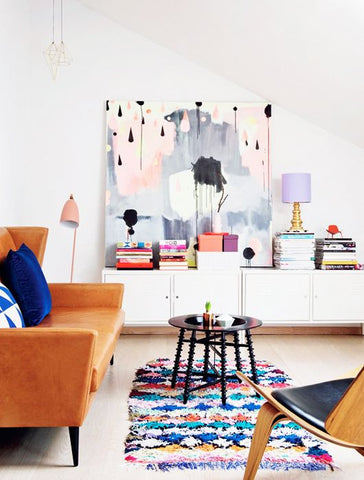 bright moroccan berber rug in styled living room