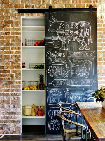 organised kitchen pantry with chalkboard doors