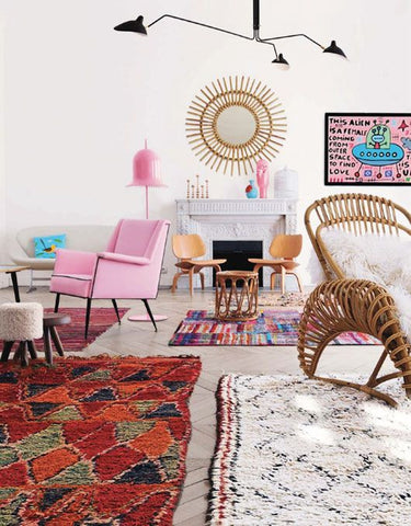 bright berber rugs in living room