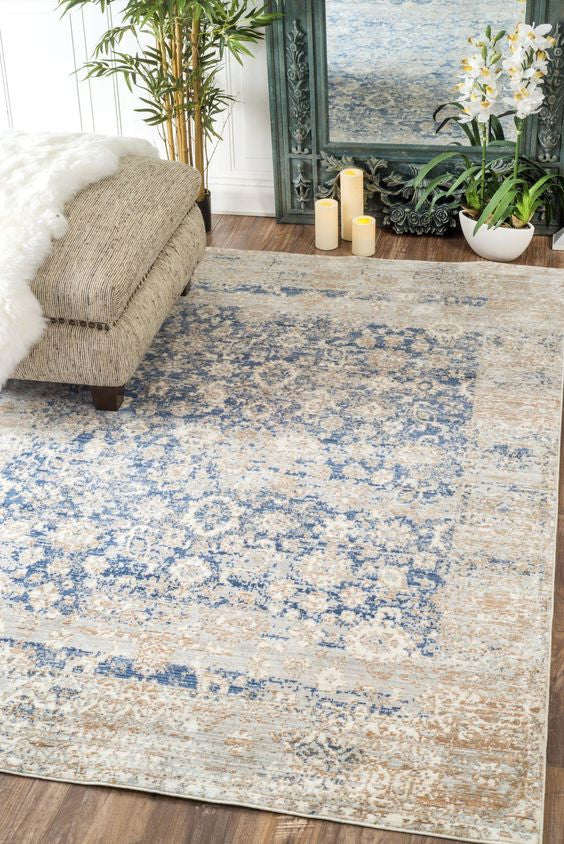 Floral Rug in teal and ivory