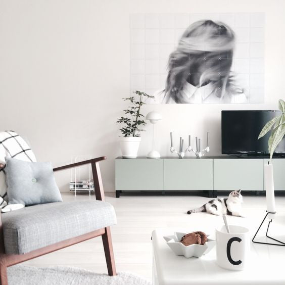 beautifully styled scandi tv unit living room