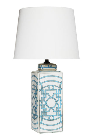 Geometric Pale Blue Table Lamp