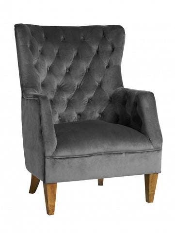 Lotus Velvet Armchair Charcoal