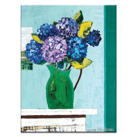 Green Jug Geraniums Canvas Print