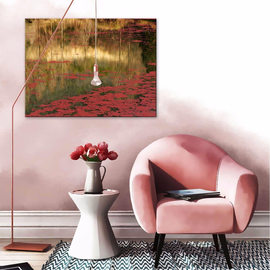 Red Photographic Canvas Print with Floating Frame