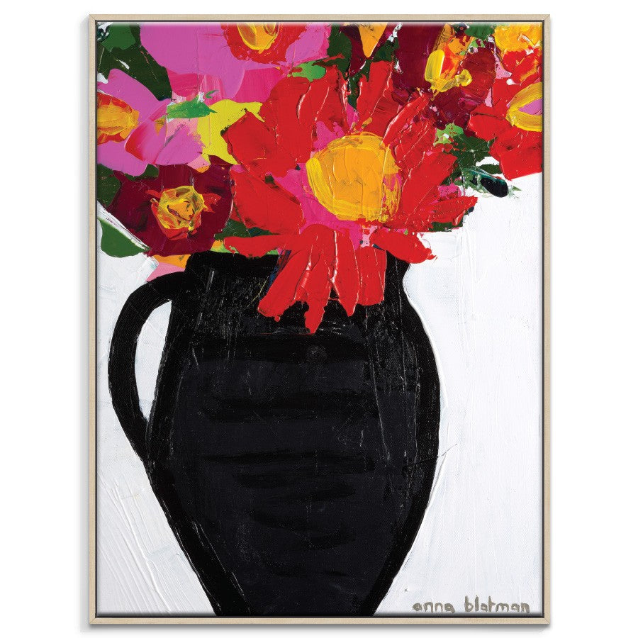 Floral Pot Framed Canvas Print