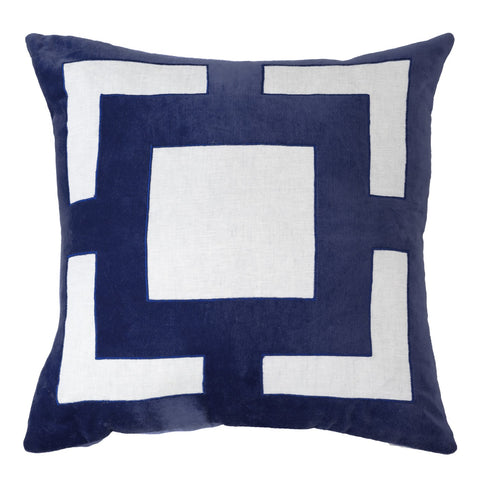Roman Applique Velvet Navy Lounge Cushion