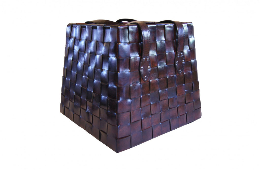 Woven Leather Basket Dark