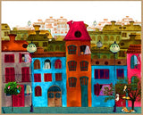 Bright Village Canvas with Frame