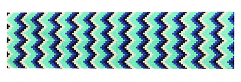 Cotton Dhurrie Runner Pixel Chevron Blue