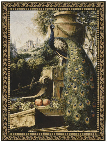 Peacock Garden Tapestry with Rod
