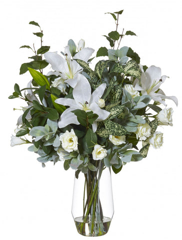 Casablanca White Lily in Slant Vase