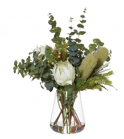 Banksia Mix White in Tub Vase